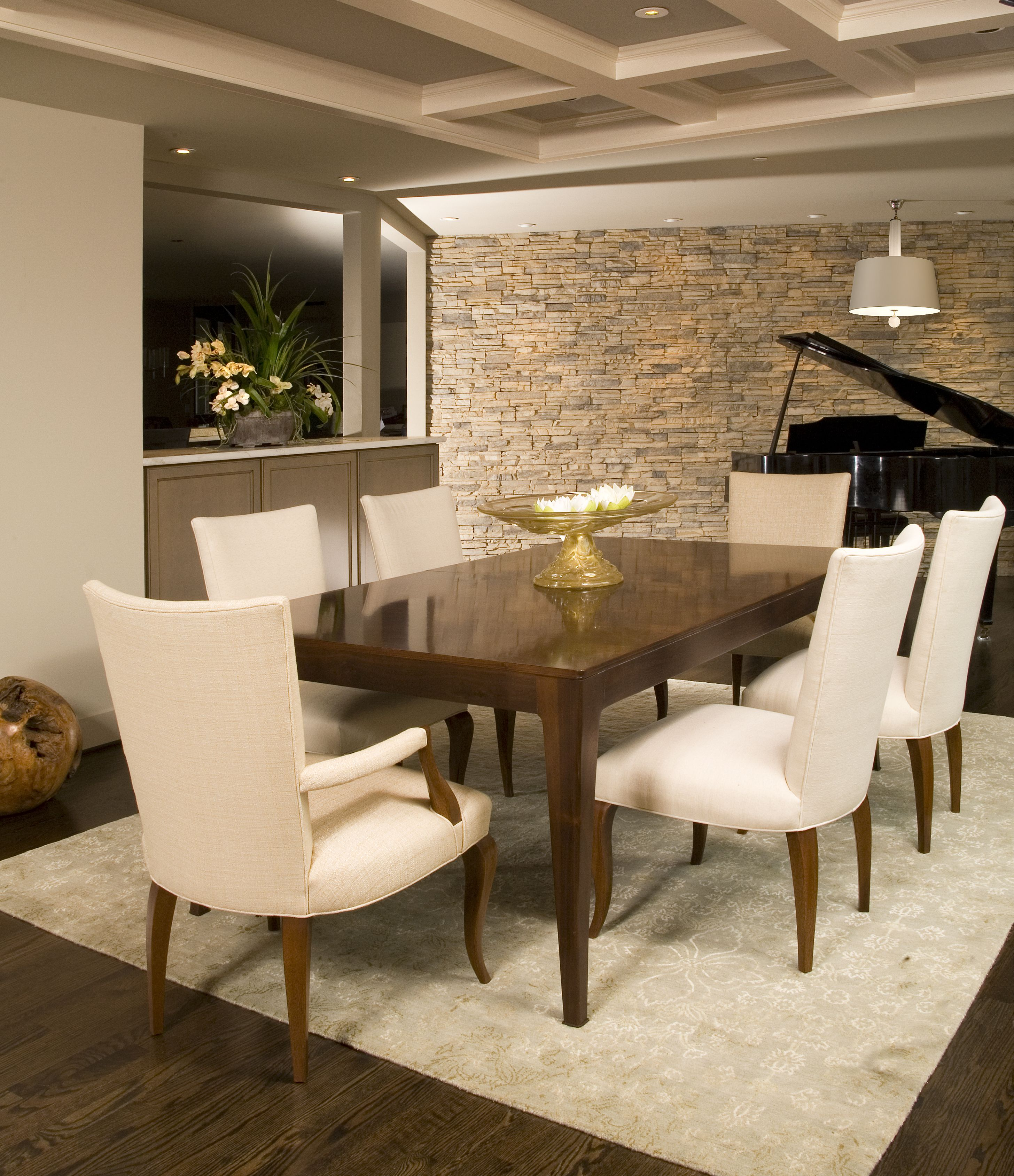 Accent Stone Wall Modern Dining Room With Clean Lines And Neutral Stone Wall