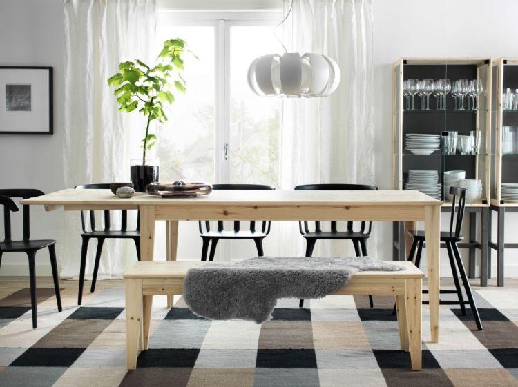 NORNÄS Esstisch aus hellem Birkenholz mit Sitzbank Ikea - ikea esstisch beispiele skandinavisch