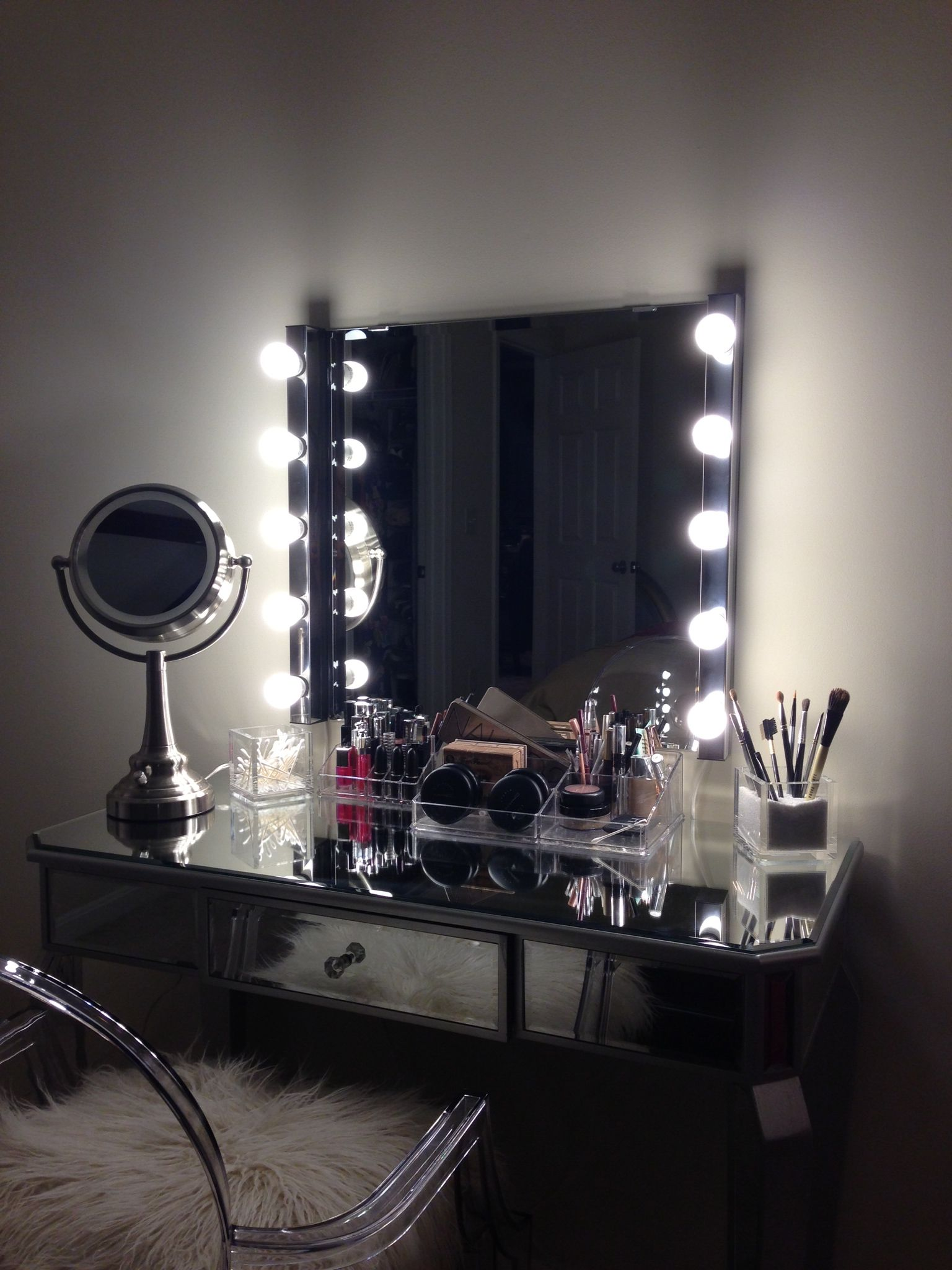 Diy Vanity Area Vanity Area With Lighted Mirror Home Is Where The Heart Is