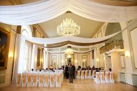 Drape for events | white voile & gold organza ceiling ...