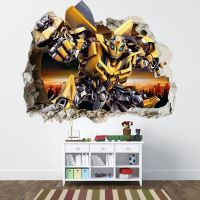 Transformers smashed wall sticker - bedroom boys bumblebee ...