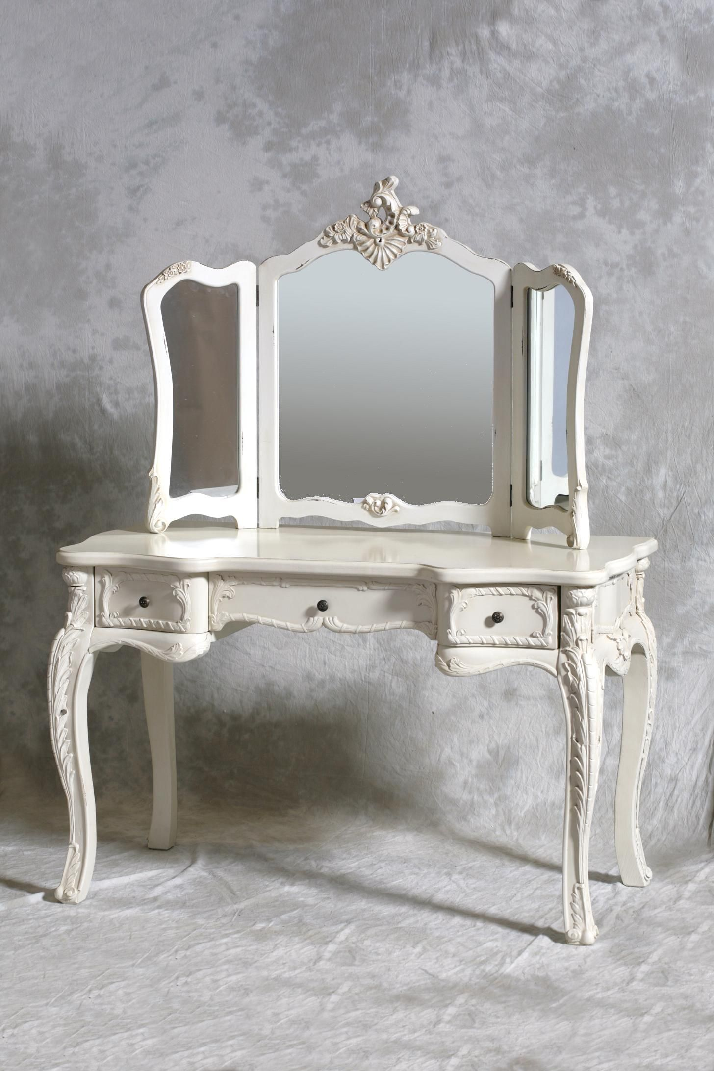 A chateau french antique style cream dressing table 3 fold mirror is a gorgeous french