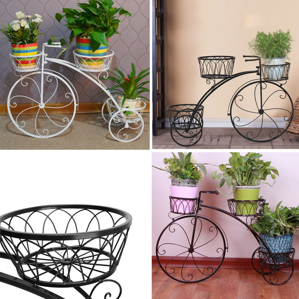 Plant Stands On Wheels 3 Color 3 Tier Metal Bicycle Pot Plant Stand Decor High