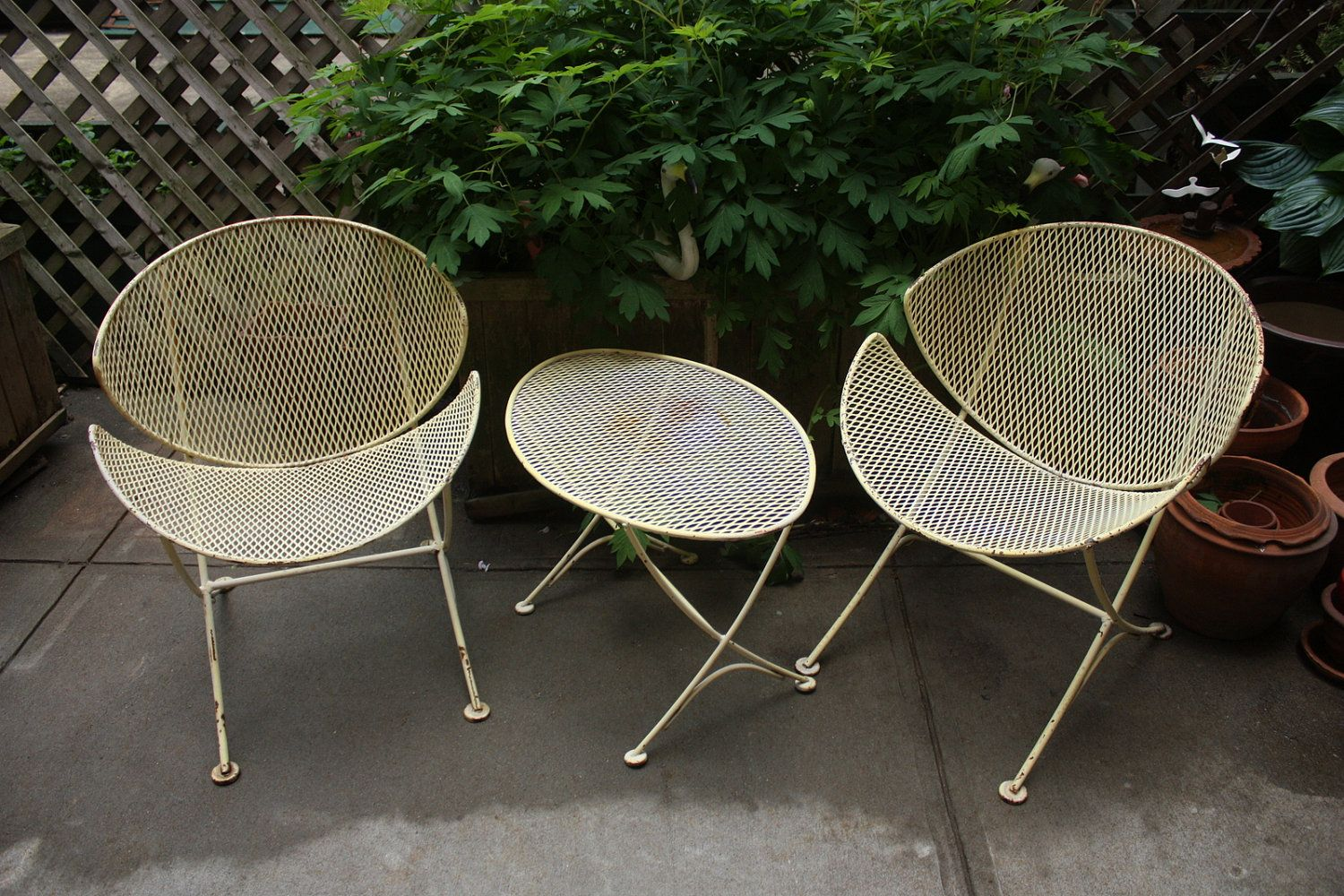 Vtg mid century salterini orange slice iron patio furniture chairs table set