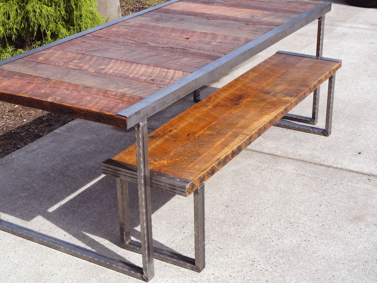 industrial kitchen table 30 84 Industrial Dining Table with Raw Steel Square Legs 00 USD by