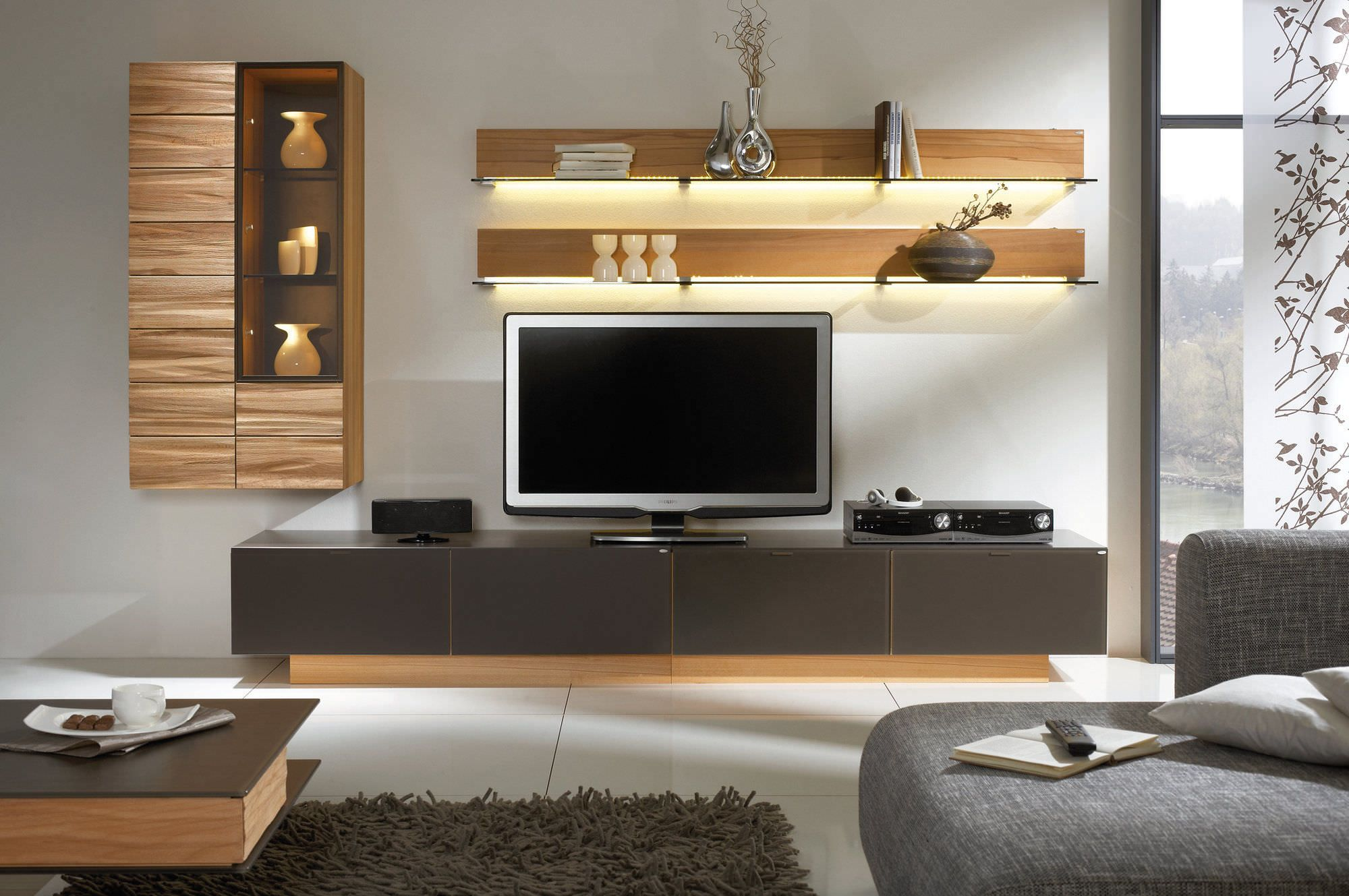 Awesome white brown wood glass cool design contemporary tv wall under storage wall racks cabinet grey