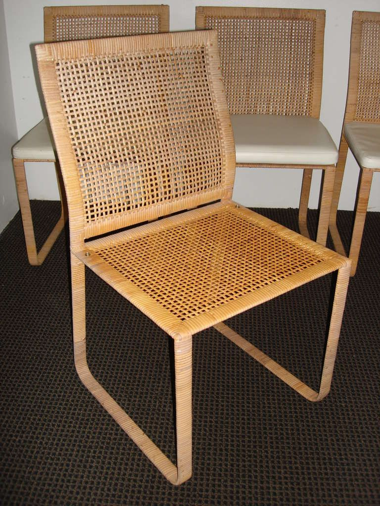 Rattan Rare Harvey Probber Woven Rattan Dining Chairs | Rattan