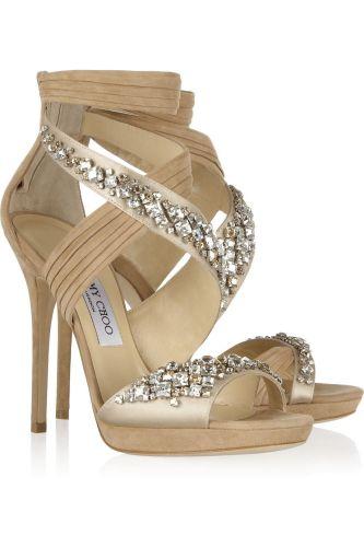jimmy choo wedding shoes Jimmy Choo Kani Swarovski crystal embellished satin and suede sandals My Color Fashion