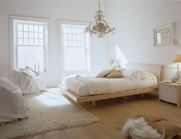 feng shui einrichten schlafzimmer bett holz holzboden sessel - schlafzimmer einrichten holz