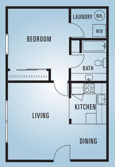 609 Anderson - One Bedroom E - 600 Square Feet Dream Home - one bedroom house plans