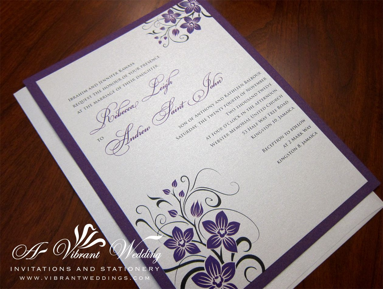 royal wedding invitation Royal Purple and Platinum Wedding Invitation with Orchid Design instead of flowers in the corners