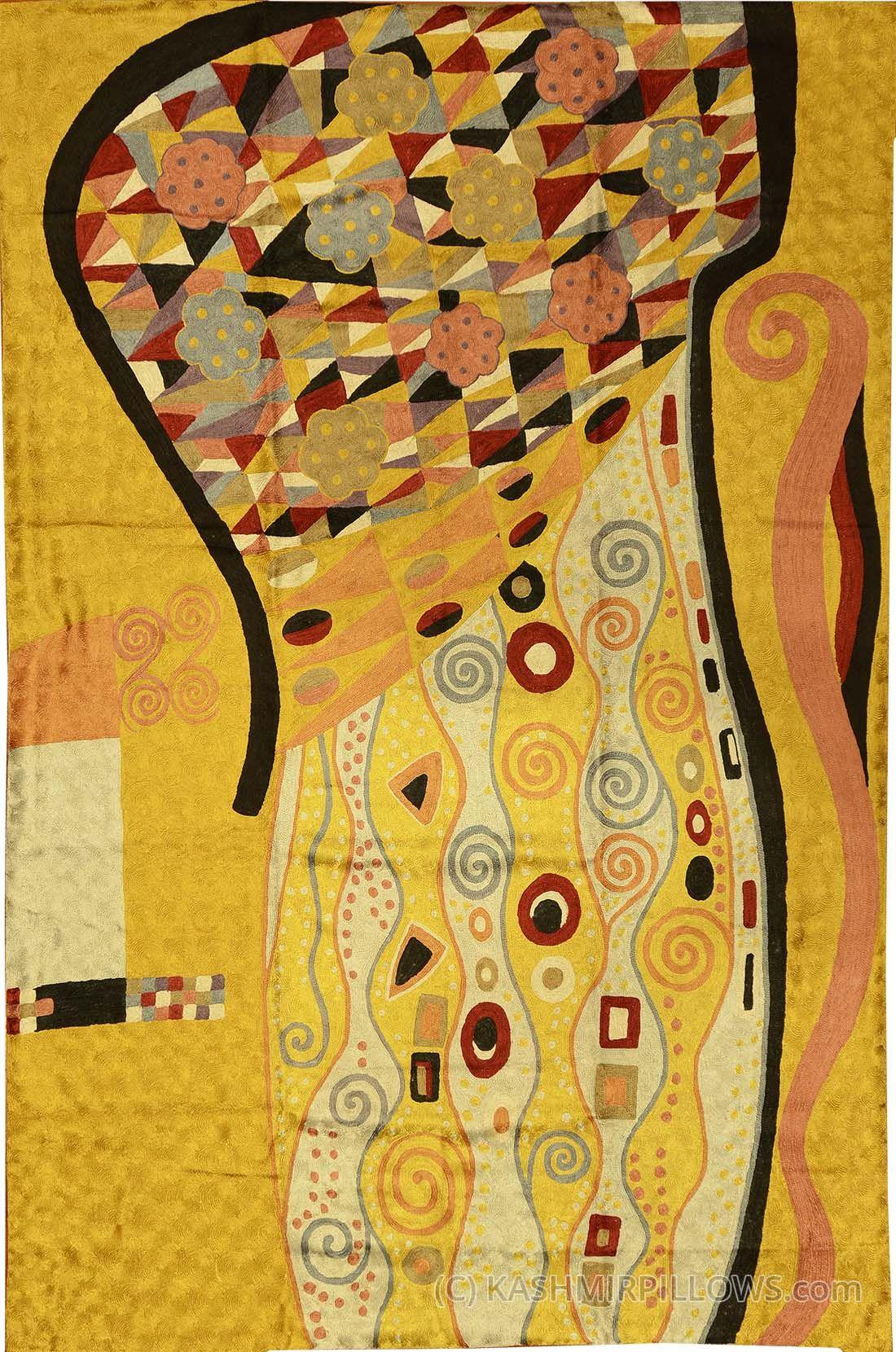Klimt x art nouveau gold silk abstract rug tapestry hand embroidered kashmir fine arts craftskashmir fine arts crafts