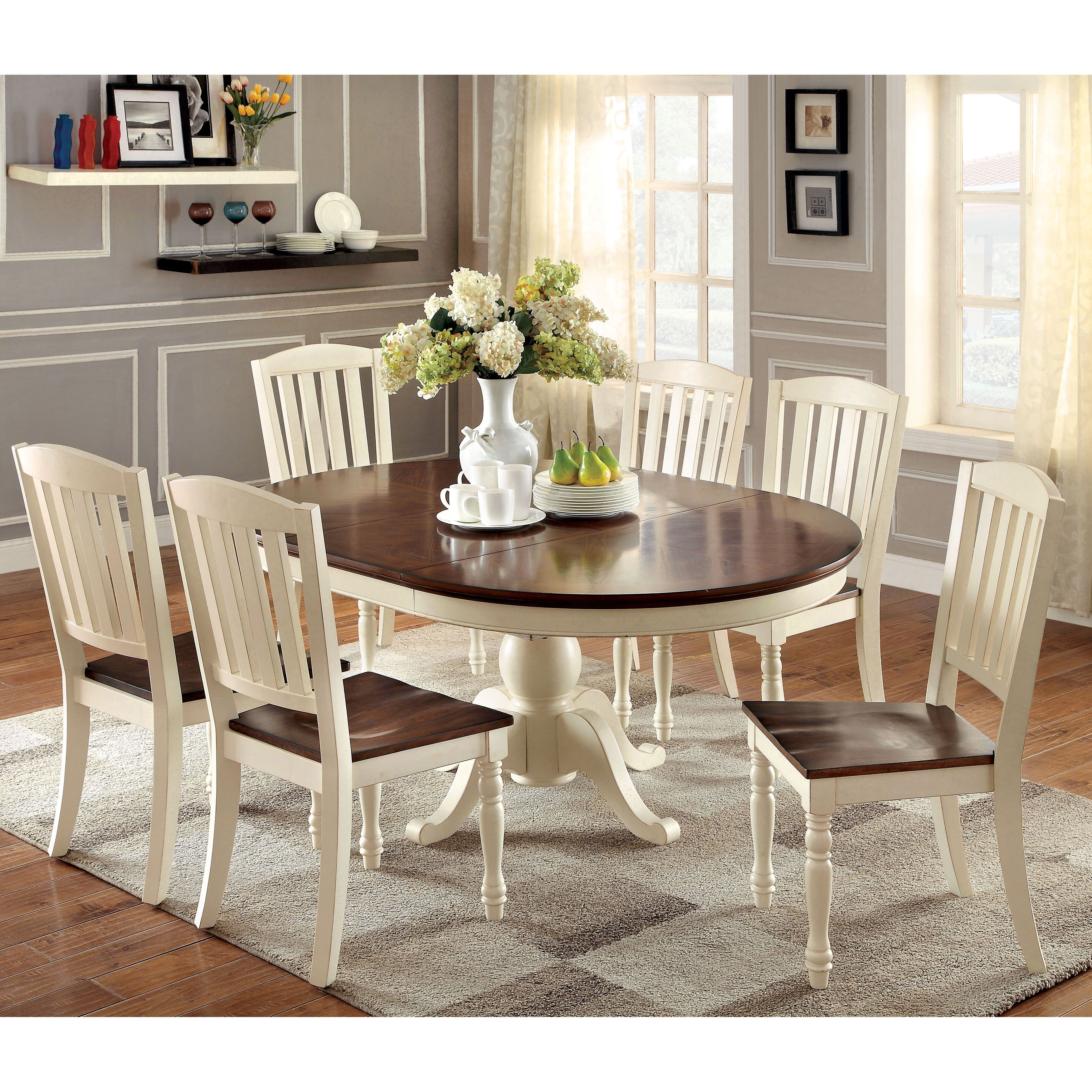 grey kitchen chairs Furniture of America Bethannie Cottage Style 2 Tone Oval Dining Table by Furniture of America