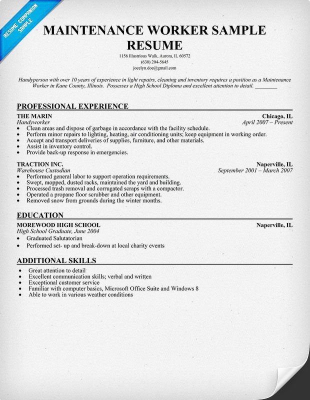 Maintenance Worker Resume Sample (resumecompanion) Resume - warehouse job description resume