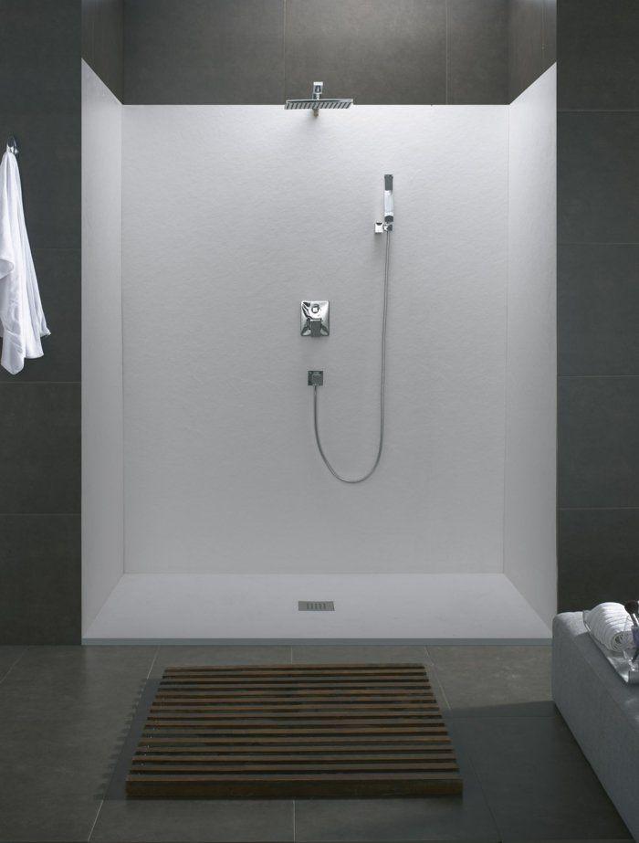 kleines bad einrichten dusche offene duschkabine fliesen grau - badezimmer egal wo