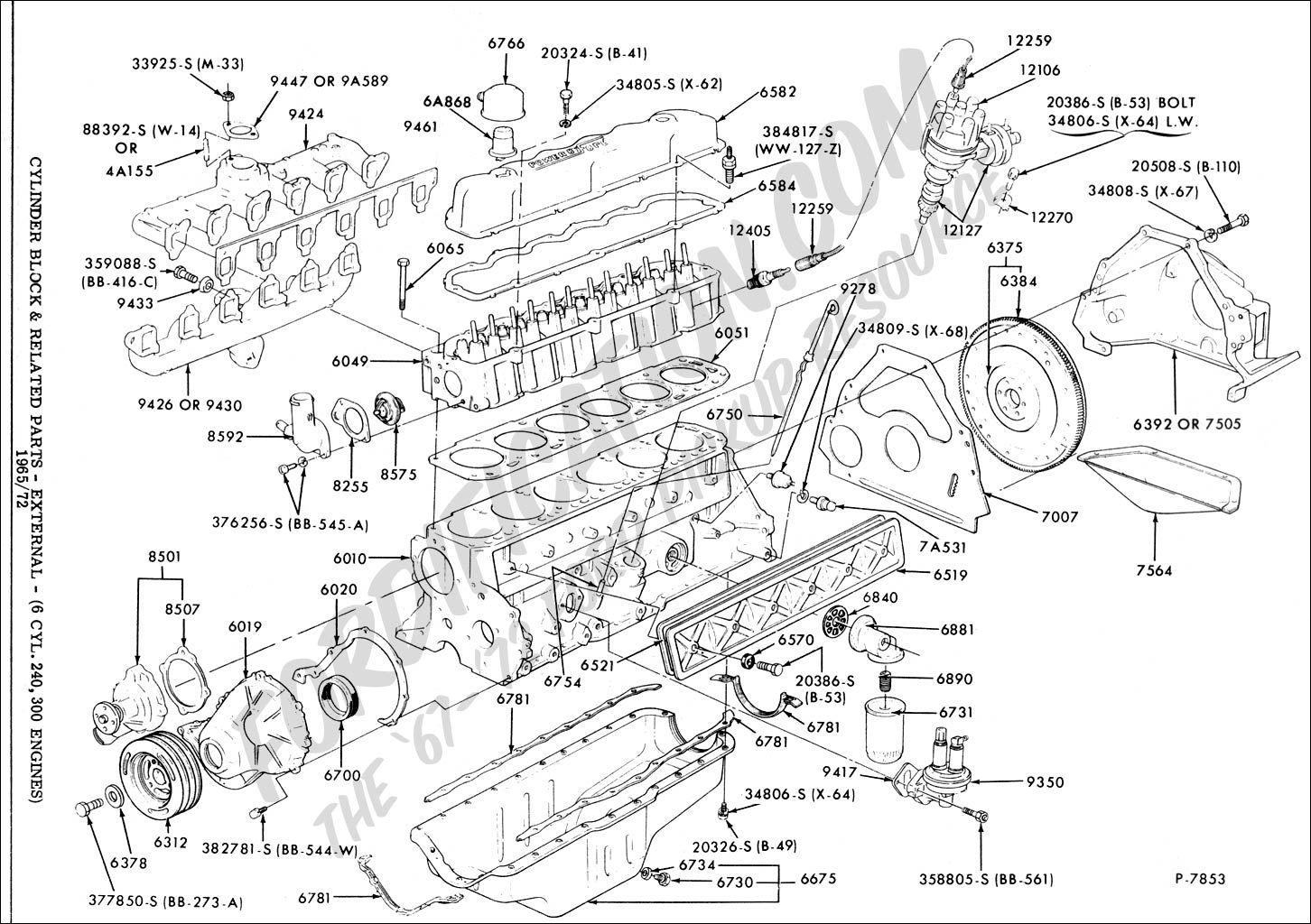 ford straight 6 engine diagram