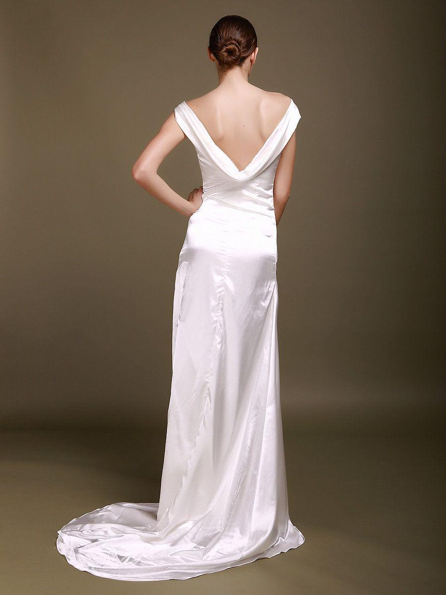 cowl neck wedding dress Cowl Neck Silk Like Satin Wedding Gown with Chapel Train