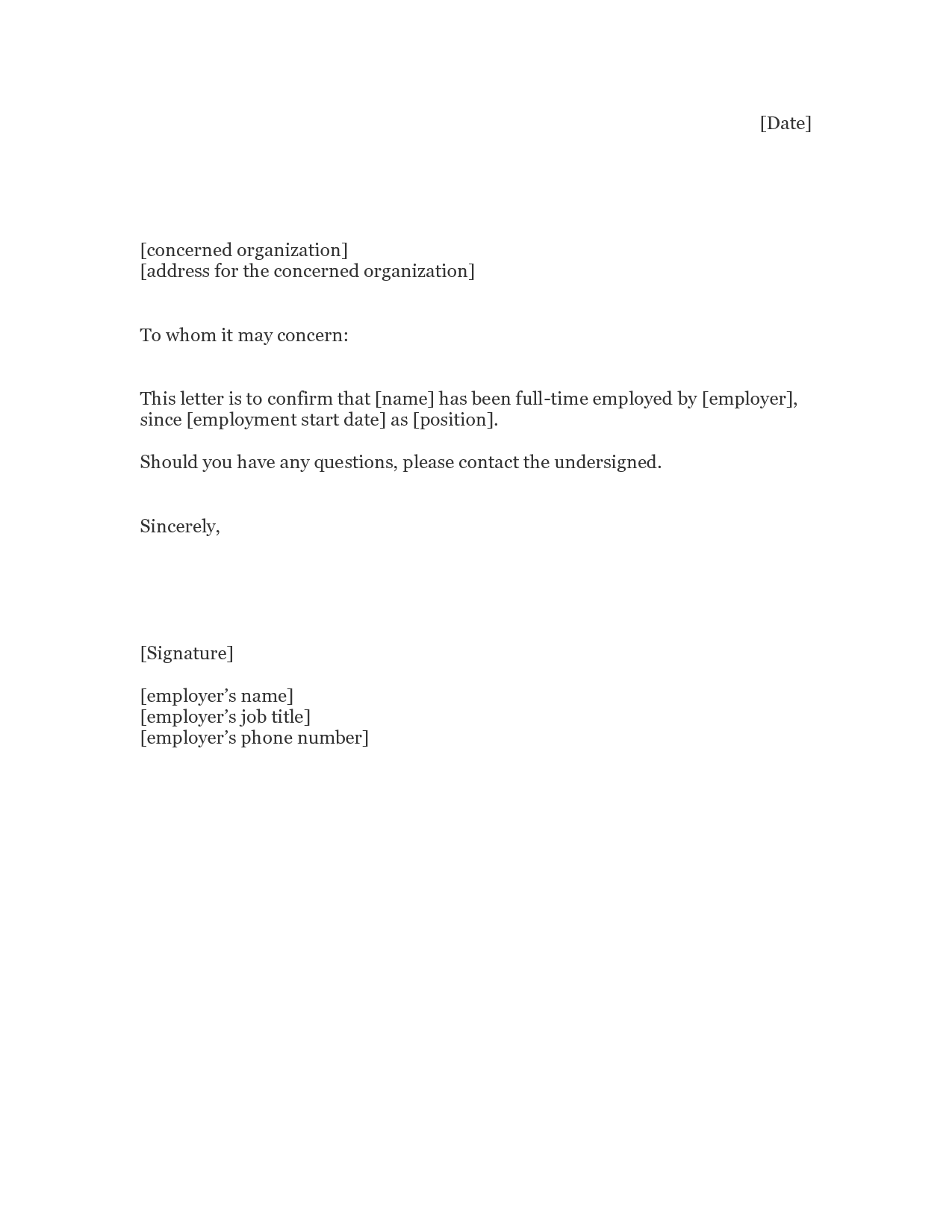 to whom it may concern letter sample for address proof to whom it – Samples of Employment Verification Letters