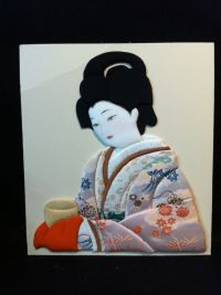 Set of 2 Japanese Geisha Fabric Wall Art by B O'Neal