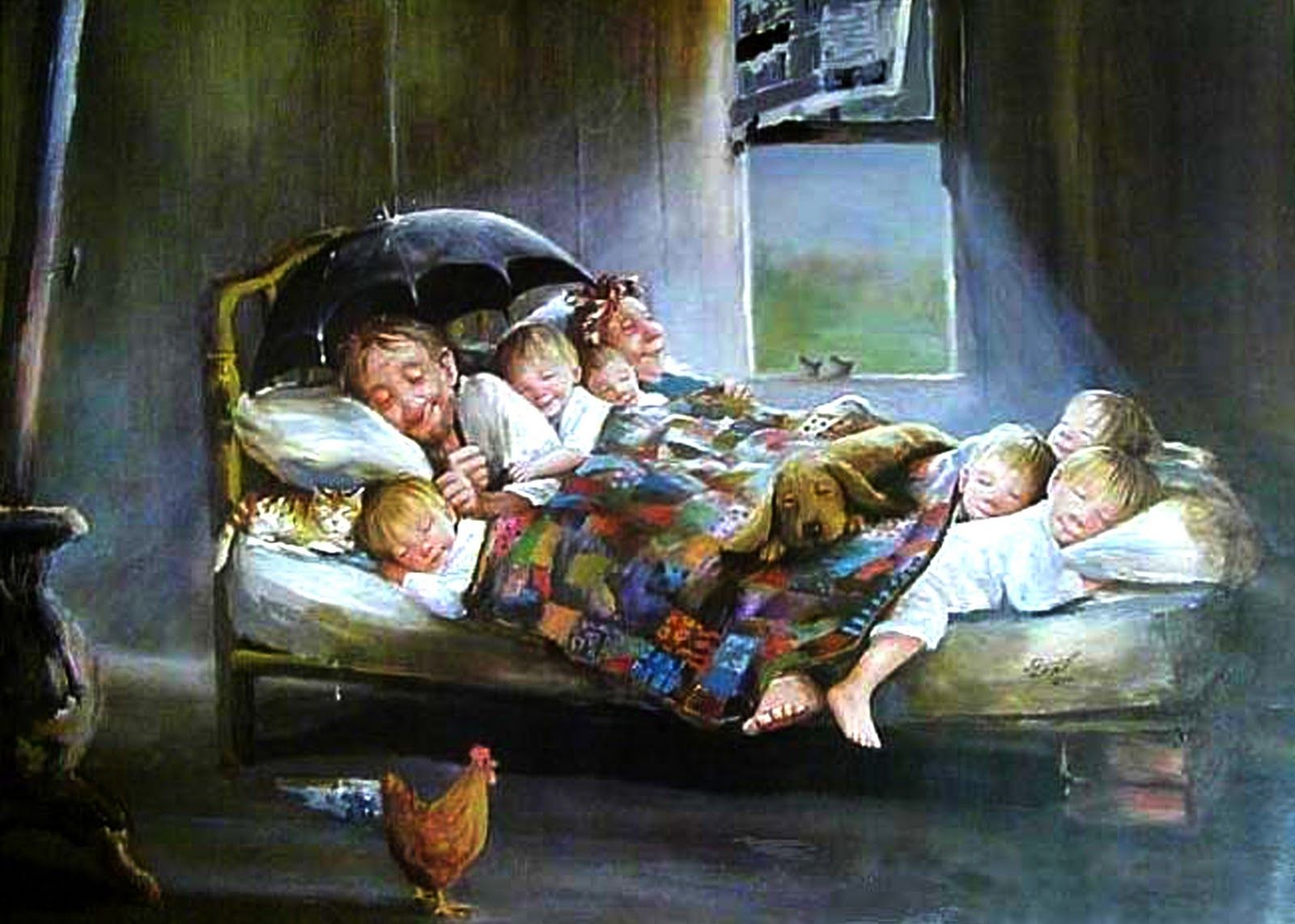 Dianne dengel home sweet home painting of happy family crowded in bed in