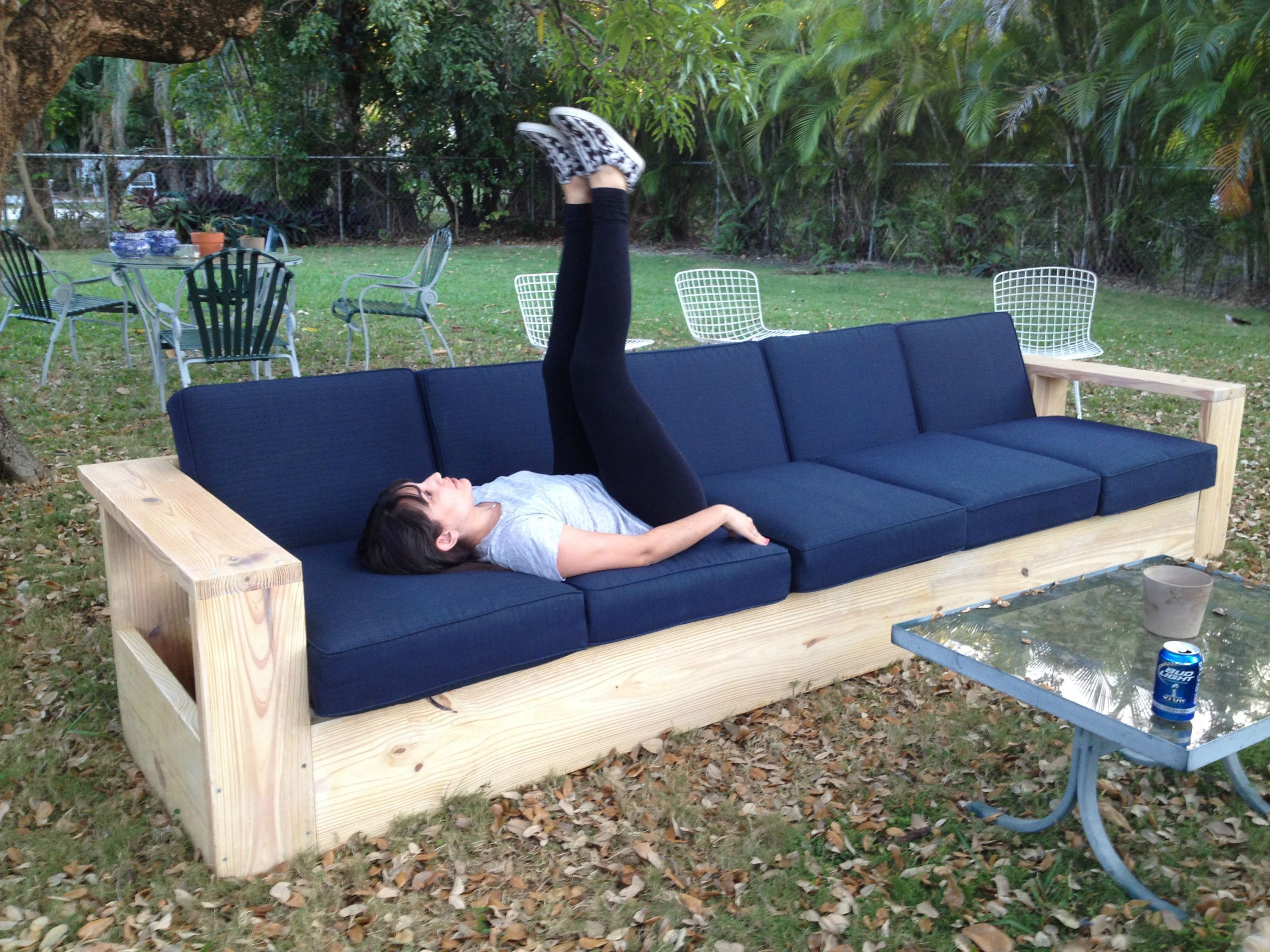 Sofa Setup Ideas I Built A Very Long Outdoor Sofa Out Of Wood First