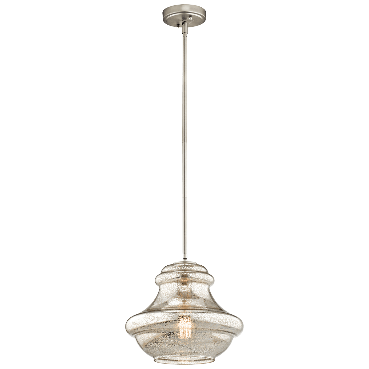 Pendant Lighting Brushed Nickel Mercury Glass Shade Kichler Everly 1 Light Pendant