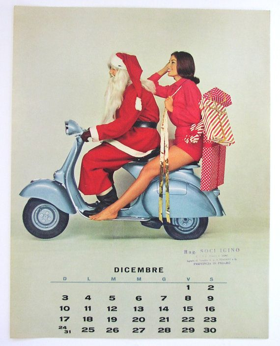 1961 Vespa Calendar Page Sexy Pin Up Girl With By - Kostüm 30 Geburtstag