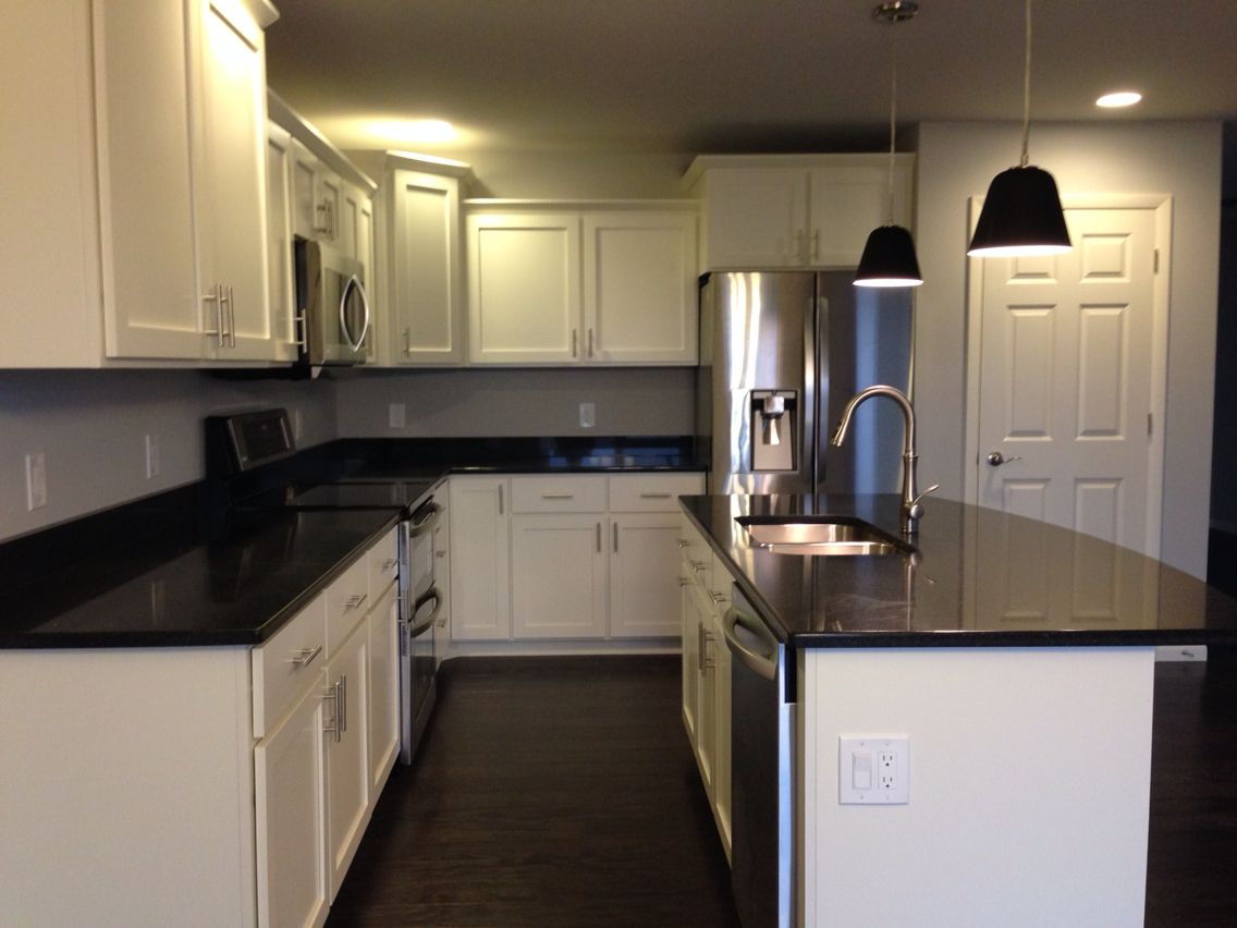 Kitchens With White Cabinets And Black Countertops Kitchen With White Shaker Cabinets Black Quartz