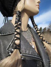 Corset Hair Wraps Black Leather Tie Beaded Ponytail Holder ...