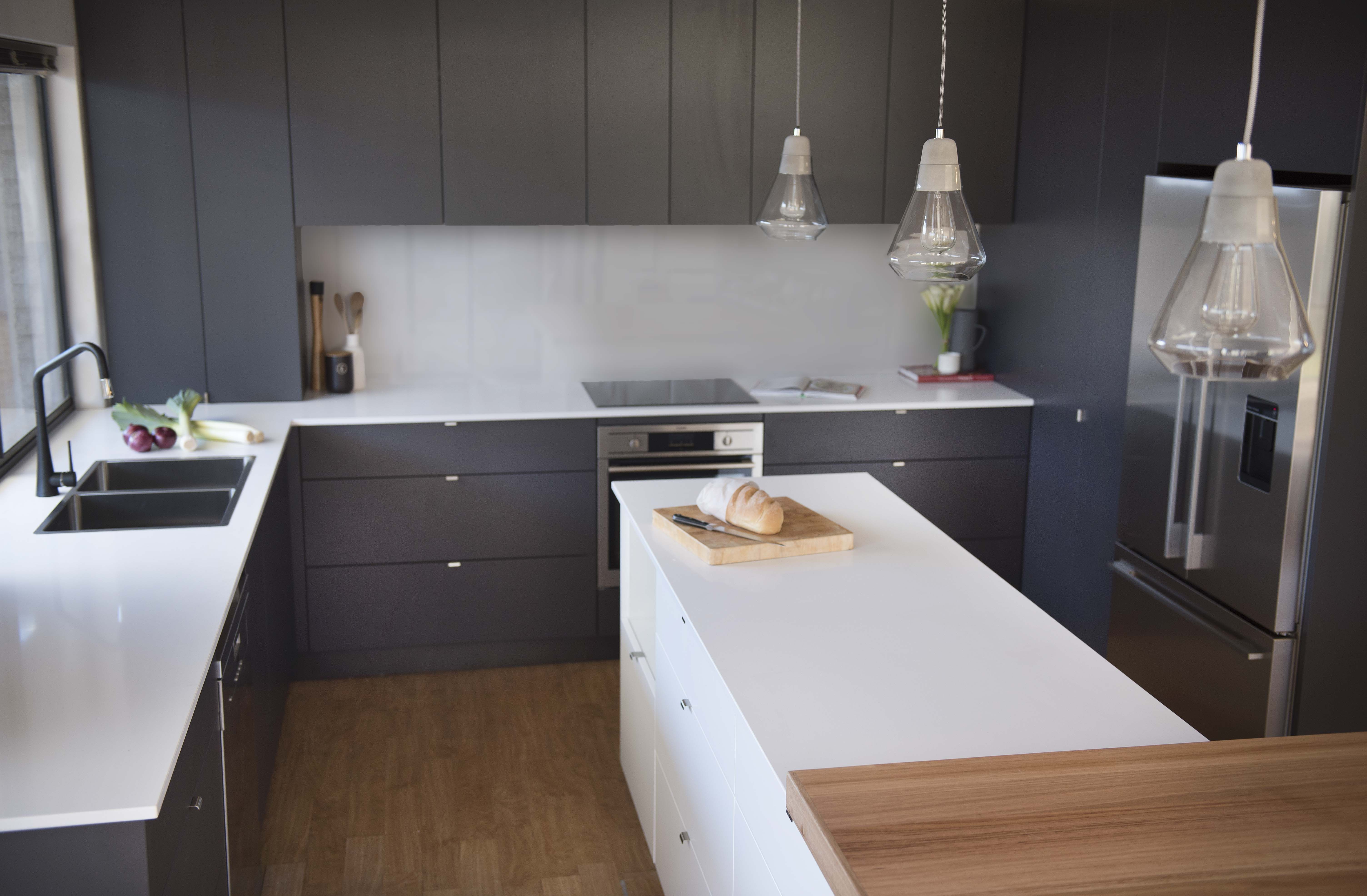 Grey Kitchen Benchtops Red Lily Renovations Perth Grey Vinyl Wrap Doors Pure