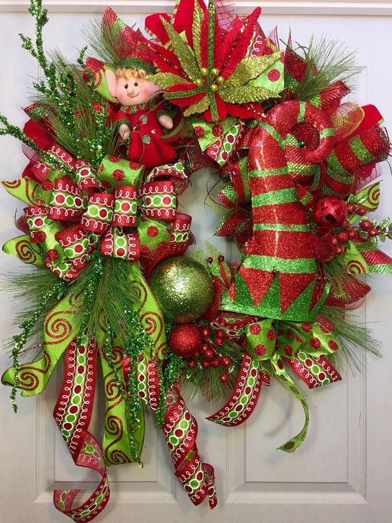 Christmas Deco Mesh Wreath, Merry Christmas Wreath, Holiday Wreath - christmas wreath decorations