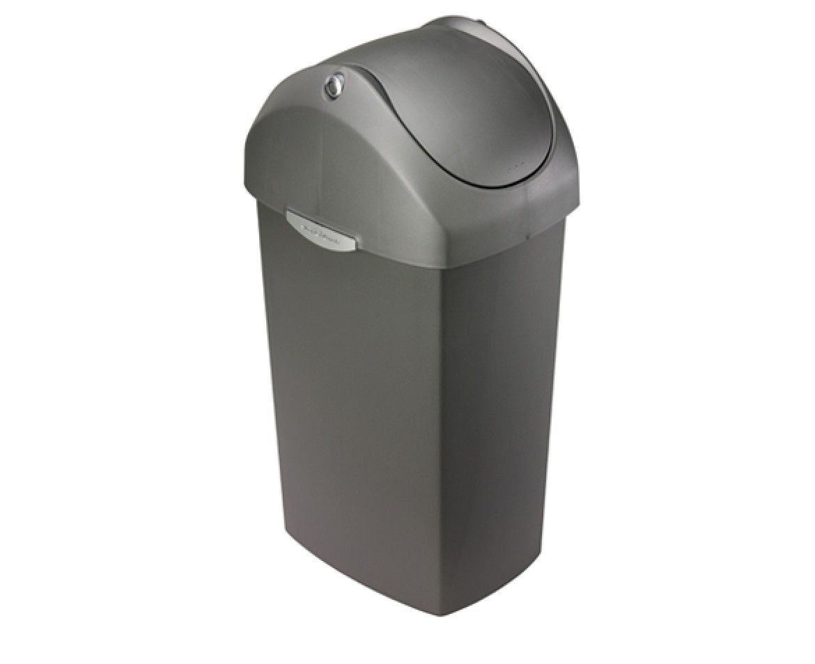 Kitchen Garbage Can With Lid Simplehuman 60l Swing Lid Grey Plastic Trash Can