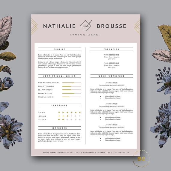 Elegant Resume Template 4 Page Modern CV Template \ Cover for MS - iwork resume templates