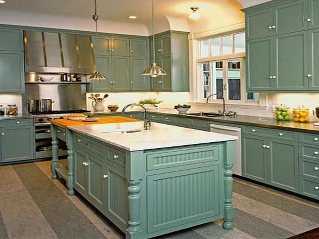 Kitchen: Teal Kitchen Cabinet With White Wall Color For