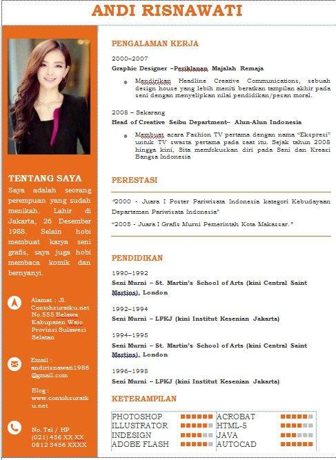 template resume cv bahasa indonesia