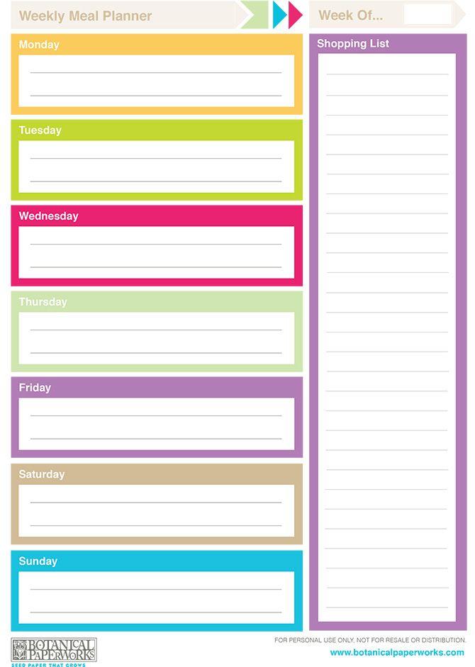 free printable} 2014 Weekly Planners Weekly meal planner, Weekly - free printable weekly planner