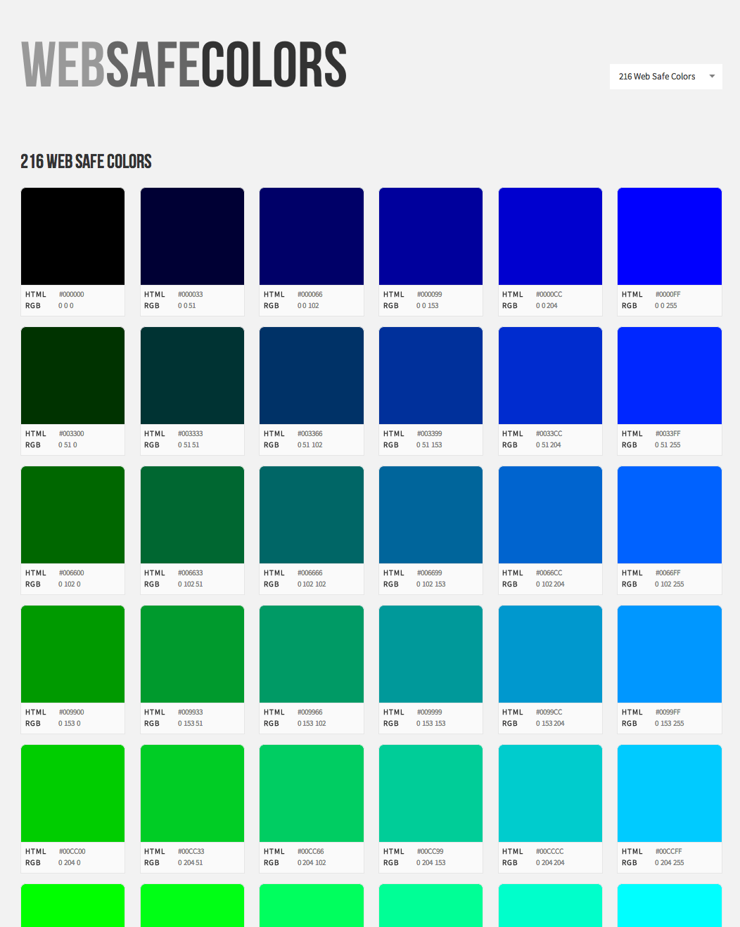 Web safe colors visual list of all web colors with hex codes
