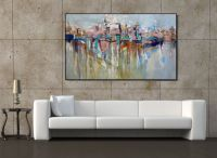 Wall Art EXTRA LARGE Painting Cityscape Abstract Painting ...