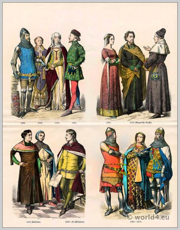 English medieval fashion in the 14th century gothic