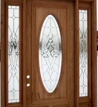 Wooden Entry Door With Oval Glass Plus Side Light With ...