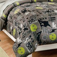 Black Gray Skateboard Bedding Teen Boy Twin or Full ...