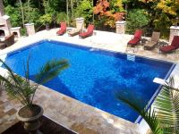 Swiming Pools Awesome Rectangle Pool Design With Red Pool ...