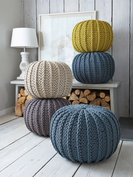 Knitted Poufs, great feature for a living room and pratical - poufs for living room