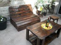 Pallet Wood Outdoor Furniture Set | Outdoor furniture sets ...