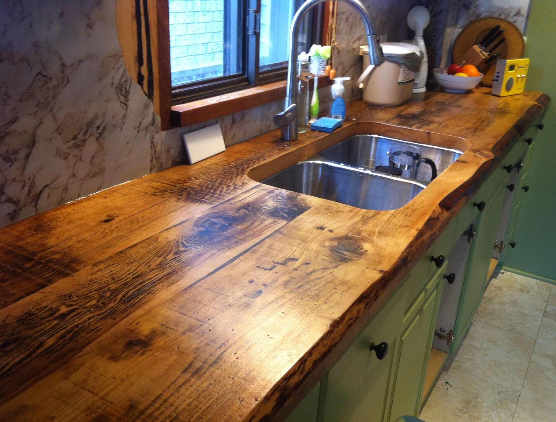 wood kitchen countertops awesome live edge kitchen counter built with 2 inch thick hemlock floor boards by barnboardstore