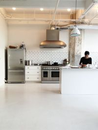 commercial kitchen. like the simple materials--subway tile ...