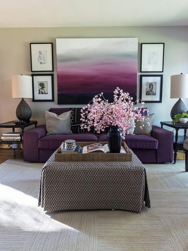 Tiffany Brooksu0027 Design Portfolio Hgtv star, Hgtv and Tiffany - purple and grey living room