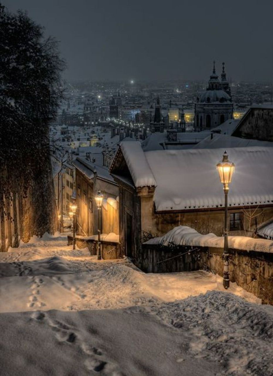 Weihnachten Im Schnee Tschechien Winter Night In Prague (czech Republic) | 1 Winter ️