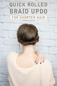 Messy Braided Crown for Shorter Hair Tutorial | Updo for ...