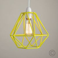 Modern Yellow Metal Wire Frame Ceiling Light Pendant Shade ...